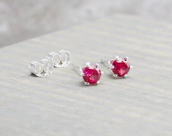 Sterling Silver Ruby Stud Earrings - July Birthstone Earrings - 4mm Studs - July Birthday - Deep Pink Earrings - Christmas Gift - Birthday