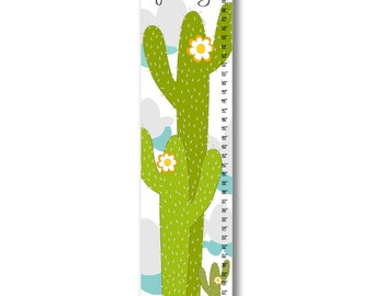 Growth Chart, Cactus Growth Chart, Green Cactus Growth Chart, Custom Growth Chart, Custom Green Growth Chart, Canvas Growth Chart