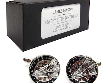 Darts, dart player CUFFLINKS 30th, 40th, 50th, 60th, 70th birthday gift, presentation box PERSONALISED ENGRAVED plate - 151