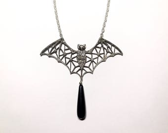 Deco Bat Necklace With Onyx