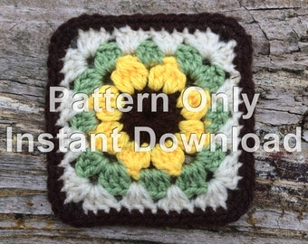 Sunflower Crochet Granny Square PDF Instant Download. Pattern Only. Easy Crochet Pattern