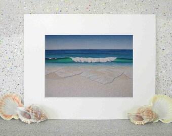 Sandy beach, original oil seascape painting print on paper, fine art print by Elena Parashko, breaking wave, ocean art, coastal scene, sea