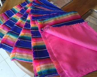 6 Double View Placemat, blue placemat, pink placemat, aztec fabric placemat, Reversable placemats, wedding gift, mexican house