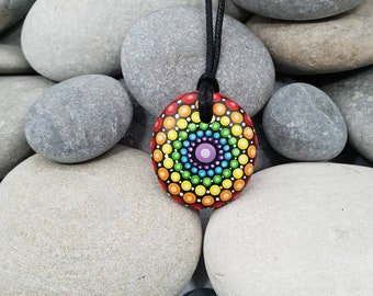 Chakra Rainbow Mandala Stone Necklace - Paint Rock - Mandala Meditation Rock - Rock Art - Dot Art - Hand-Painted Necklace - Mandala Pendant