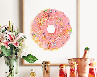 Pink donut art, PRINTABLE art, Nursery art, Nursery printable, Pink wall art, Doughnut decor, Donut decor, Pink art, Gift for her,Watercolor