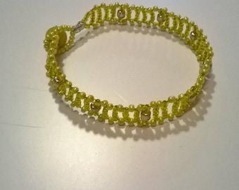 Yellow seed beads bracelet