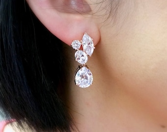 wedding bridal jewelry bridesmaid gift prom party christmas pageant cubic zirconia post stud marquise teardrop multistone rose gold earrings