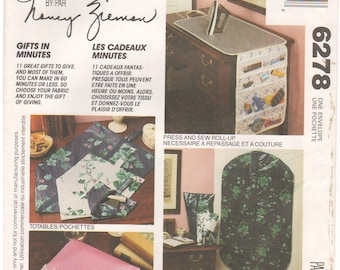1992 - McCalls 6278 Vintage Sewing Pattern Nancy Zieman Gifts In Minutes Pouch Totables Press Sew Roll Up Lingerie Carry All Garment Bag