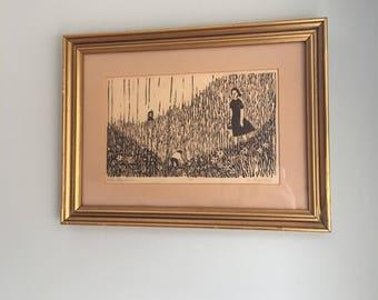 Original Art, Wild Strawberries Woodcut-1960s-Jan Gary-Listed New Jersey Artist