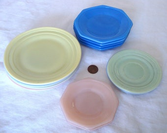 Vintage Akro Agate Children's Dishes - 12 pieces