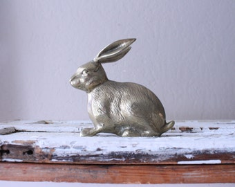 Vintage Brass Bunny Rabbit // Solid Brass