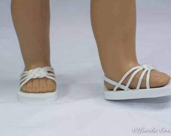 American Girl, 18 inch doll SANDALS SHOES Flipflops in White Woven Toe Band and Four Straps with Heel Strap