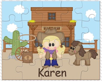 Cowgirl Personalized Puzzle, Personalized Cowgirl Puzzle, Personalized Kids Puzzle