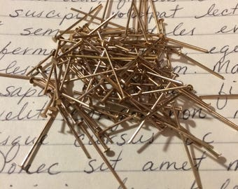 "Vintage 7/8"" Gold Plate Headpins 100 Pieces"