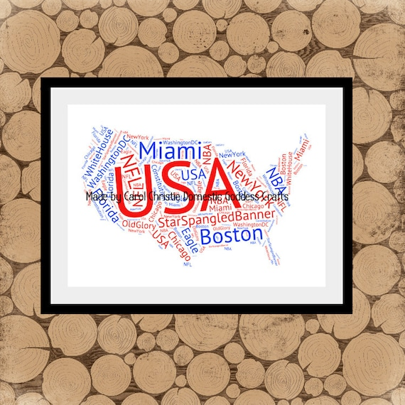 Map of usa word art personalised map of america american gumiabroncs Images