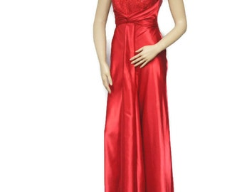 Red DressVintage Strapless Gown Sequined Sash Formal Maxi Satiny Scarlet Jessica McClintock Extra Small Size 1