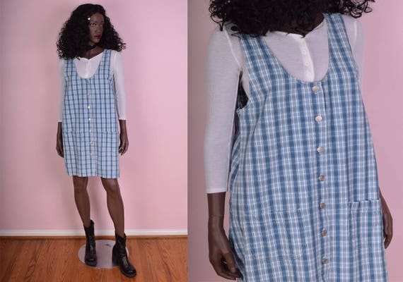 90s Plaid Button Down Jumper Dress/ Medium/ 1990s by Etsy