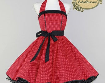 50's vintage petticoat dress in red with baby white polka dots and black embellishments
