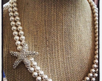 Bridal Starfish Necklace, Swarovski Pearl Necklace, Starfish Necklace, Beach Wedding Jewelry, Destination Wedding Jewelry,   MERI
