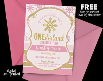 Winter OneDerland Birthday Invitation, First Birthday Invitation, Pink and Gold Birthday, Pink and Gold, Snowflake