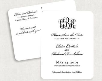 Monogram Save the Date Postcards, Black and White Save the Date Postcards, Elegant Save the Date Postcards, Printable Save the Date Postcard