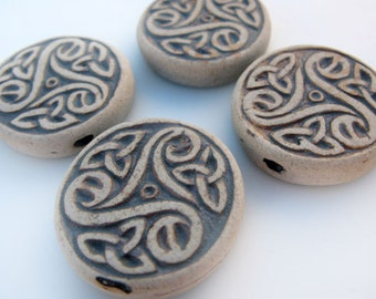 10 Highfired Celtic Spiral beads