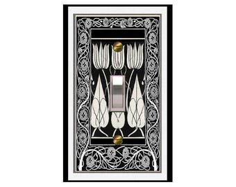 0385x - 'Art Deco Beardsley Tulips - mrs butler switch plate covers - choose sizes / prices from drop down box