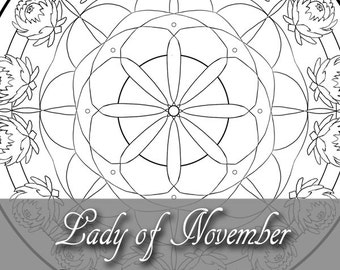 Printable Coloring Book Page for Adults - November Birthstone Birth Flower Chrysanthemum Mandala Window in Art Nouveau Style Line Art