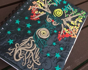 Mother Nature polymer clay A5 notebook sketch book journal with blank paper
