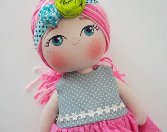 Pink Haired Cloth Doll - Cute, Chubby Fabric Doll - Sweet Cloth Doll - Girl Gift Idea - The Garden In Bloom Collection