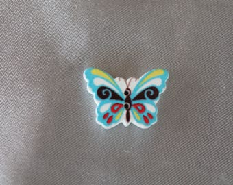 button, butterfly, blue, multicolor, two holes, 25 mm in diam.