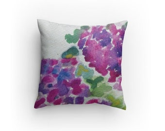 "Throw Pillow ""Hydrangeas"" 14 x 14 inches with Pillow Insert, Home Decor, Living Room, Bedroom"