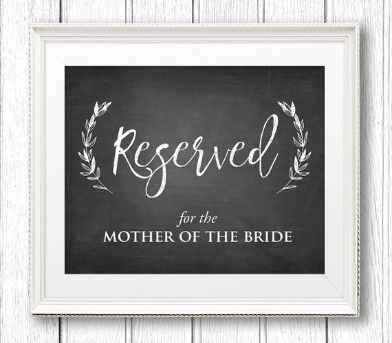 Wedding Reserved Sign, Printable Reserved Table / Seat, Editable Template, Chalkboard, Rustic Wedding, Instant Download, 8x10 Flat #CH32
