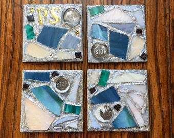 PS STOP Recycled Stained Glass Mosaic Coasters (Set of 4)