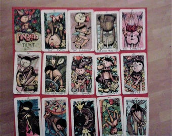 available - PINOKKIO Tarot COLORS -22 large tarot cards colors - handmade numered deck only 20  -printed in typography - plasticized