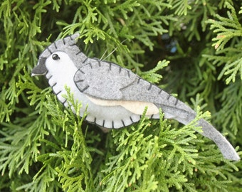 Tufted Titmouse Felt Bird Ornament