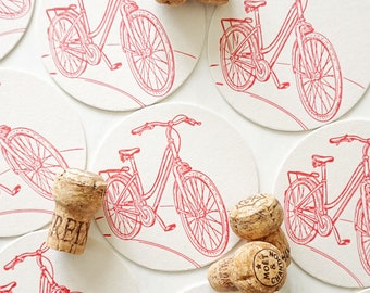 Red Bicycle Set of 8 Letterpress Coasters