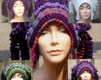 E Pattern Freeform Freestyle Crochet Hat with Corkscrews and Earflaps