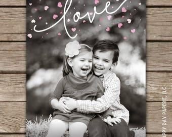 Heart Sprinkle - Custom Digital or Printed Photo Valentine Greeting Card