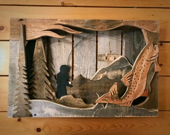 Hooked trout shadow box