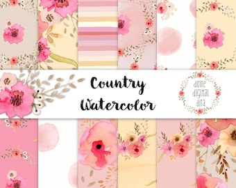 Country Watercolor Flowers Digital Paper Pack Blush Pink Peach Yellow Beige White Floral | Instant Download