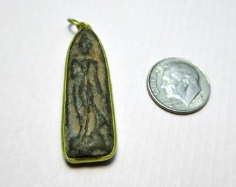 Standing Buddha Brass and Clay Pendant