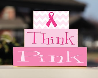 Breast Cancer Awareness Think Pink Block Stack Set - Gift Personalized Wooden Sign Home Decor Cancer Free Anniversary