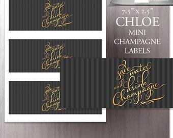 New Year's printable mini champagne bottle labels - mini champagne bottle wrappers tags - DIY - Wedding / Bridal Shower Champagne Brunch