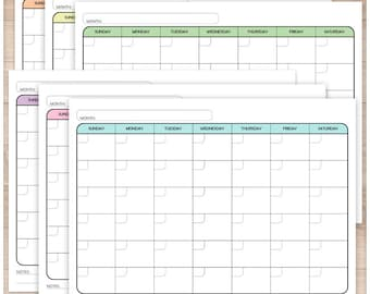 Printable Blank Calendar BUNDLE - Monthly Full Pages - 6 colored PDF pages included - Instant Download