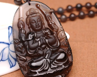 Ice Obsidian Buddha Guanyin Pendant for Men and Women Necklace
