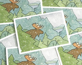 Moose Christmas Card Set, Winter nature holiday stationery