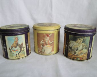 3 Small Biscuit Tins Made in US Vintage Bristol Ware Rabbits
