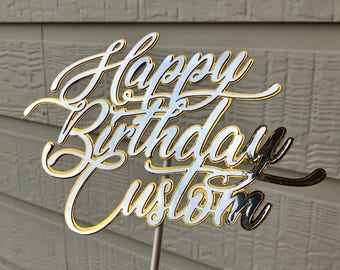 Customized Layered Silver and Gold Birthday Cake Topper
