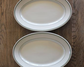 Pair of Vintage Farmhouse Heavy Ironstone Platters with Green Stripe